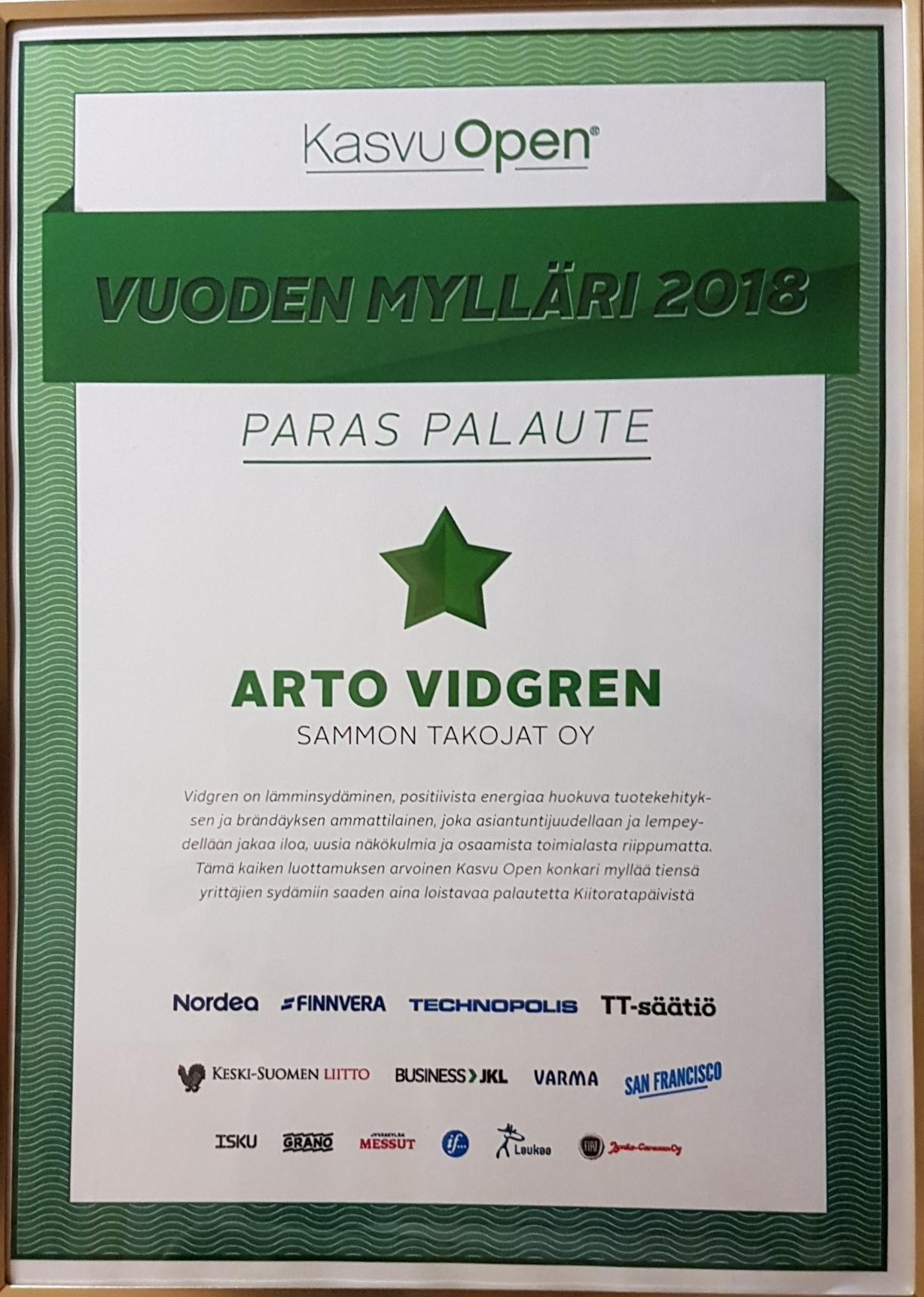 Arto Vidgren - 2018 Vuodne mylläri kunniakirja